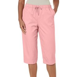 Coral Bay Womens Solid Straight Leg Pull On Capris