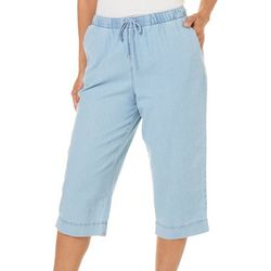 Coral Bay Womens Pull On Denim Capris