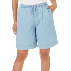 Coral Bay Womens Pull On Denim Bermuda Shorts