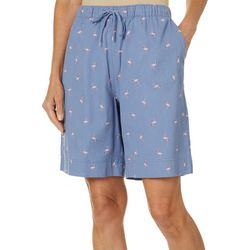 Coral Bay Womens Flamingo Print Twill Drawstring Shorts