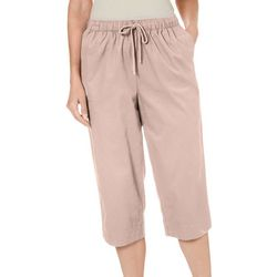 Coral Bay Womens Solid Twill Pull On Capris