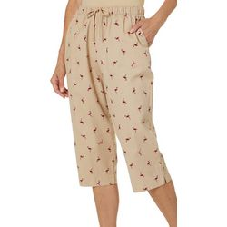 Coral Bay Womens Pull On Drawstring Flamingo Print Capris