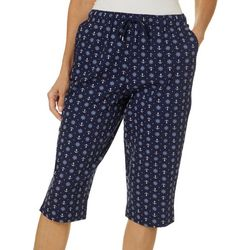 Coral Bay Womens Pull On Drawstring Nautical Print Capris
