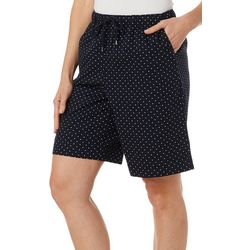 Coral Bay Womens Everyday Ocean Drive Drawstring Dot Shorts