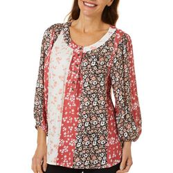 Coral Bay Womens Mixed Floral Stripe Round Neck Peasant Top