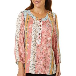 Coral Bay Womens Floral Stripe Round Neck Peasant Top