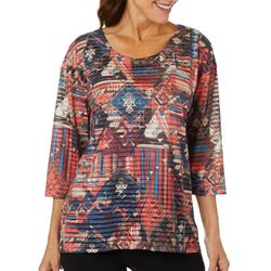 Onque Casual Womens Geometric Print Embellished Top