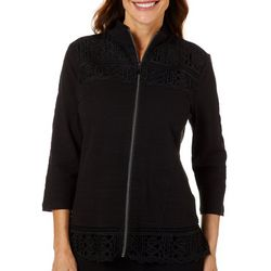 Onque Casual Womens Solid Lace Trim Long Sleeve Jacket