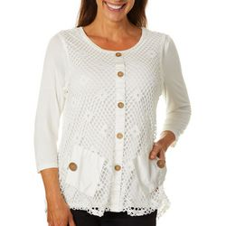 Onque Womens Solid Mesh Pocket Top