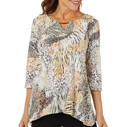 Onque Casual Womens Mixed Animal Embellished Keyhole Top