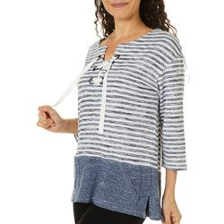 Onque Casual Womens Striped Lace Up Tunic Top