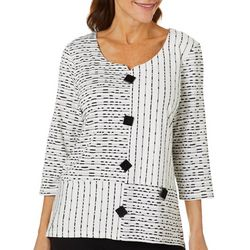 Onque Casual Womens Mixed Stripe Round Neck Tunic Top