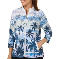 Onque Womens Island Romance Zip Up Jacket