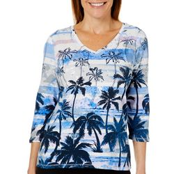 Onque Womens Embellished Palm Tree Striped Top