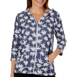Onque Womens Palm Tree Zip Up Hooded Jacket