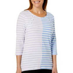 Onque Womens Striped Lace-Up Shoulder Top