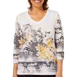 Onque Womens Embellished City Floral Print Top
