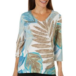 Onque Womens Jewel Embellished Palm Print V-Neck Top