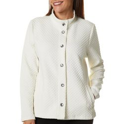 Onque Casual Womens Solid Jewel Button Long Sleeve Jacket