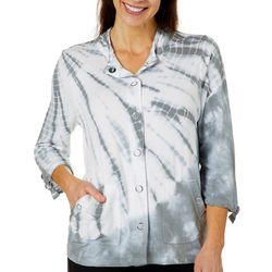 Onque Womens Tie Dye Snap Front Optic Bloom Jacket