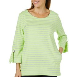 Onque Womens Striped Grommet Sleeve Top