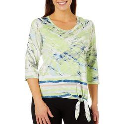 Onque Womens Printed Side Tie Top
