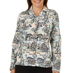 Onque Womens Destination Fabulous Paris Print Jacket