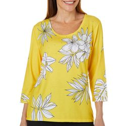 Onque Womens Embellished Tropical Floral Top