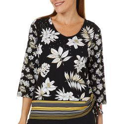 Onque Womens Embellished Tropical Floral Stripe Top