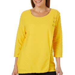 Onque Womens Solid Button Front Crossover Top