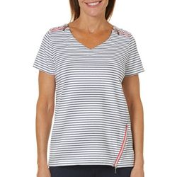 Onque Womens Stripes & Zippered Details Top