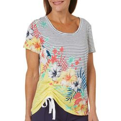 Onque Womens Striped & Floral Cinched Side Top