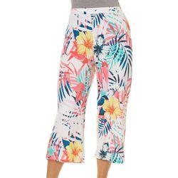 Onque Womens Tropical Floral Print Knit Capris