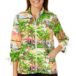 Onque Womens Beach Print Zip Up Jacket