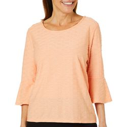 Thomas & Olivia Womens Textured Solid Bell Sleeve Top