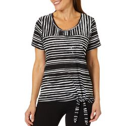 Onque Womens Embellished Mixed Stripe Side Tie Top
