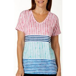 Onque Womens Diamond Rhinestone Embellished Stripe Top
