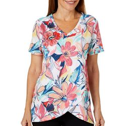 Onque Womens Embellished Floral Crossover Hem Top