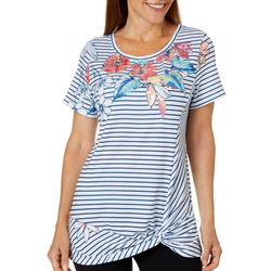 Onque Womens Sequin Tropical Floral Striped Knot Front Top