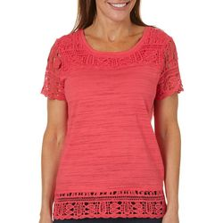 Onque Womens Solid Crochet Detailed Top