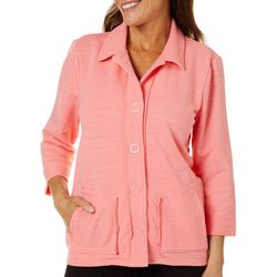 Onque Casual Womens Solid 3/4 Sleeve Jacket