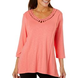 Onque Casual Womens Solid Lattice Neckline Top