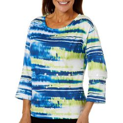 Onque Casual Womens Striped Button Embellished Top