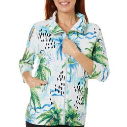 Onque Casual Womens Palm Tree Print 3/4 Sleeve Jacket