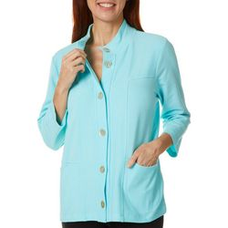 Onque Casual Womens Solid Button Down 3/4 Sleeve Jacket