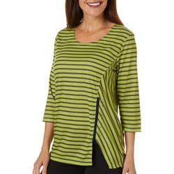 Onque Casual Womens Striped Zipper Detail Tunic Top