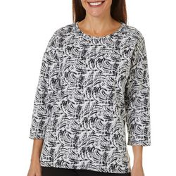 Onque Casual Womens Mixed Print Round Neck Tunic Top