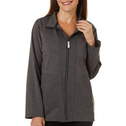 Onque Casual Womens Solid Full Zip Long Sleeve Jacket