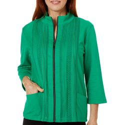Onque Casual Womens Solid Lace Detail Long Sleeve Jacket