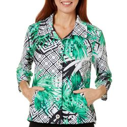 Onque Casual Womens Geo Palm Print 3/4 Sleeve Jacket